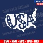United States Map USA Word (SVG dxf png) America Patriotic Cut File Cricut Silhouette Vector Clipart T-Shirt Design 4th of July svg