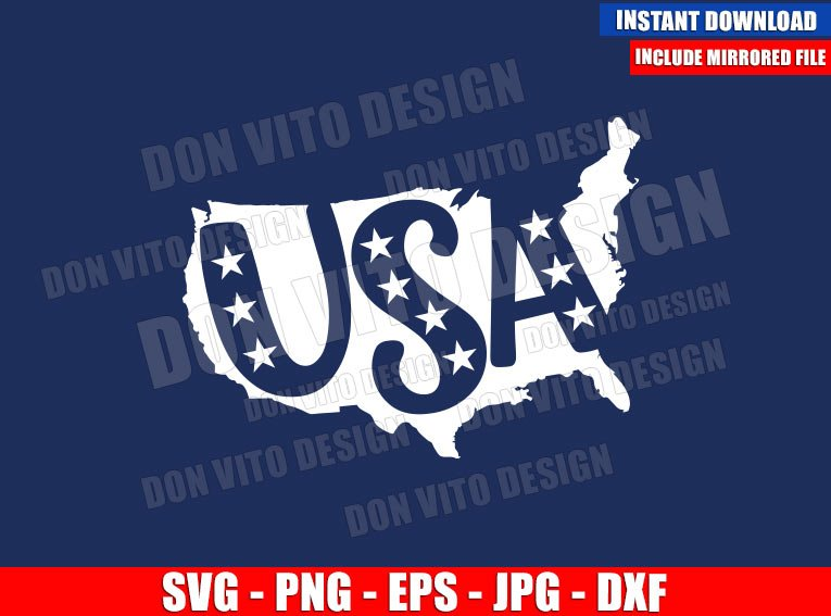 United States Map USA Word (SVG dxf png) America Patriotic Cut File Cricut Silhouette Vector Clipart - Don Vito Design Store
