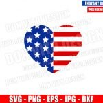 Patriotic Heart USA Flag (SVG dxf png) Love United States America Cut File Cricut Silhouette Vector Clipart T-Shirt Design 4th of July svg