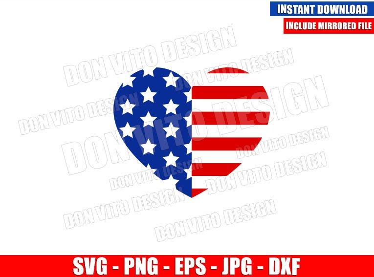 Patriotic Heart USA Flag (SVG dxf png) Love United States America Cut File Cricut Silhouette Vector Clipart - Don Vito Design Store