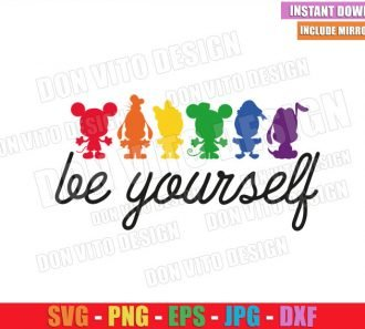 Be Yourself Disney Cuties (SVG dxf png) Baby Mickey Minnie LGBT Colors Cut File Cricut Silhouette Vector Clipart - Don Vito Design Store