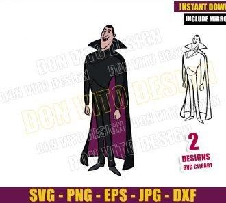 Count Dracula Hotel Transylvania (SVG dxf png) Vampire Outline Cut File Cricut Silhouette Vector Clipart - Don Vito Design Store