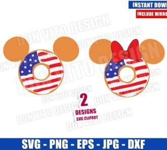 Disney USA Flag Donuts (SVG dxf png) Mickey Minnie Mouse Head Cut File Cricut Silhouette Vector Clipart - Don Vito Design Store
