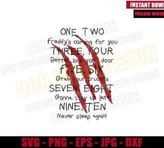 Freddy Krueger Poem (SVG dxf png) Nightmare on Elm Street Song Cut File Cricut Silhouette Vector Clipart - Don Vito Design Store