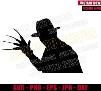 Freddy Krueger with Glove (SVG dxf png) Nightmare on Elm Street Cut File Cricut Silhouette Vector Clipart - Don Vito Design Store