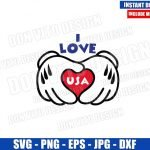 I Love USA Mickey Gloves (SVG dxf png) Disney Hands Patriotic Heart Cut File Cricut Silhouette Vector Clipart Design Fourth of July svg