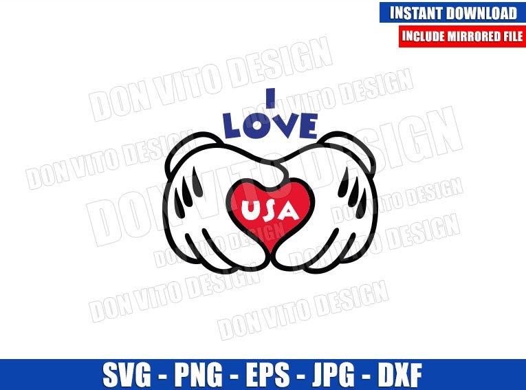 I Love USA Mickey Gloves (SVG dxf png) Disney Hands Patriotic Heart Cut File Cricut Silhouette Vector Clipart - Don Vito Design Store