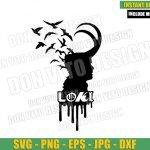Loki Head with Crows (SVG dxf png) Helmet Loki Tv Show Logo Cut File Cricut Silhouette Vector Clipart T-shirt Design Marvel svg