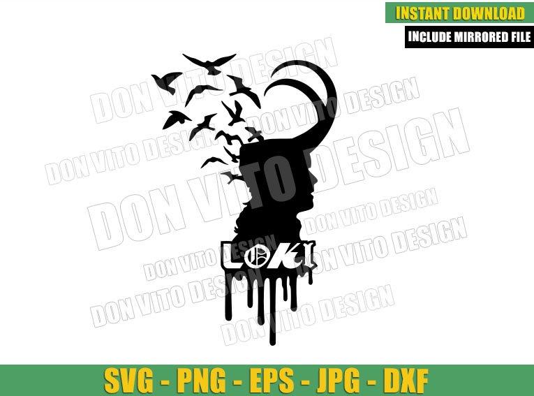 Loki Head with Crows (SVG dxf png) Helmet Loki Tv Show Logo Cut File Cricut Silhouette Vector Clipart - Don Vito Design Store