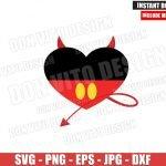 Mickey Mouse Devil Heart (SVG dxf png) Halloween Disney Evil Tail Cut File Cricut Silhouette Vector Clipart T-Shirt Design Disneyland svg