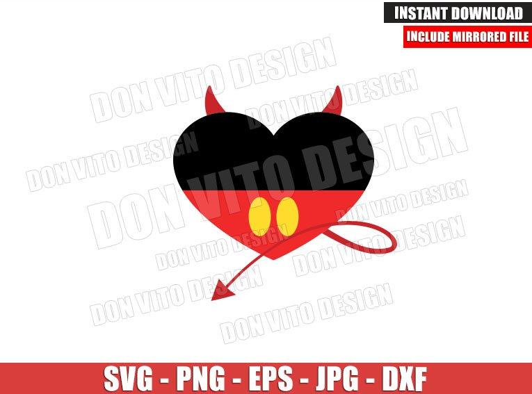 Mickey Mouse Devil Heart (SVG dxf png) Halloween Disney Evil Tail Cut File Cricut Silhouette Vector Clipart - Don Vito Design Store