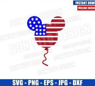Mickey Balloon USA Flag (SVG dxf png) Patriotic American US Cut File Cricut Silhouette Vector Clipart - Don Vito Design Store