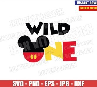 Wild One Mickey Head (SVG dxf png) Disney Birthday Mouse Ears Cut File Cricut Silhouette Vector Clipart - Don Vito Design Store