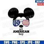 Mickey USA Flag Sunglasses (SVG dxf png) All American Boy Patriotic Cut File Cricut Silhouette Vector Clipart Design Disney 4th of July svg