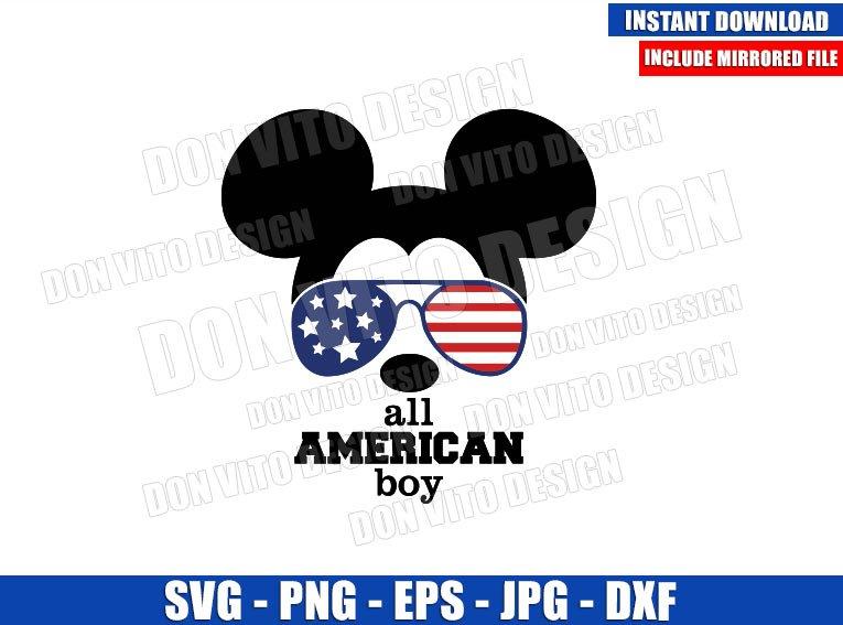 Mickey USA Flag Sunglasses (SVG dxf png) All American Boy Patriotic Cut File Cricut Silhouette Vector Clipart - Don Vito Design Store