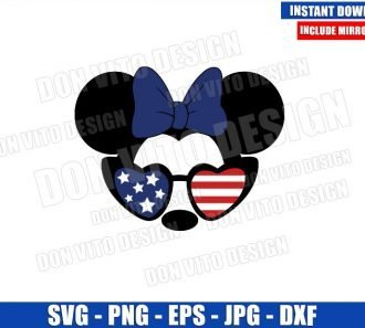 Minnie USA Flag Sunglasses (SVG dxf png) Independence Day Cut File Cricut Silhouette Vector Clipart - Don Vito Design Store