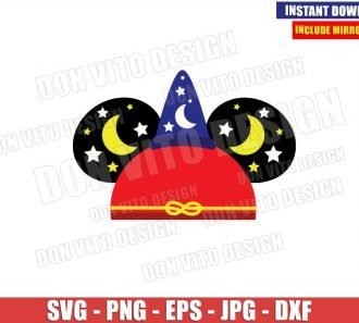 Sorcerer Mickey Hat Ears (SVG dxf png) Disney Magician Mouse Head Cut File Cricut Silhouette Vector Clipart - Don Vito Design Store