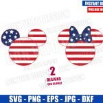 Mickey Minnie Stars and Stripes (SVG dxf png) USA Flag Head Cut File Cricut Silhouette Vector Clipart Design Disney Fourth of July svg