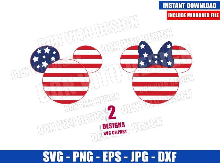 Mickey Minnie Stars and Stripes (SVG dxf png) USA Flag Head Cut File Cricut Silhouette Vector Clipart - Don Vito Design Store