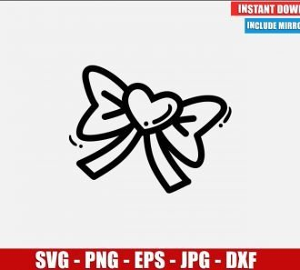 Bow with Heart SVG Free Cut File for Cricut Silhouette Freebie Valentine Clipart Vector PNG Image Download Free SVG Design