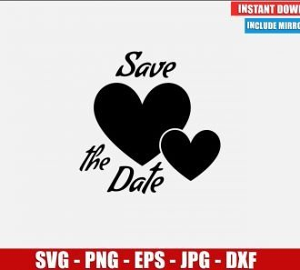 Save the Date SVG Free Cut File for Cricut Silhouette Freebie Hearts Love Clipart Vector PNG Image Download Free