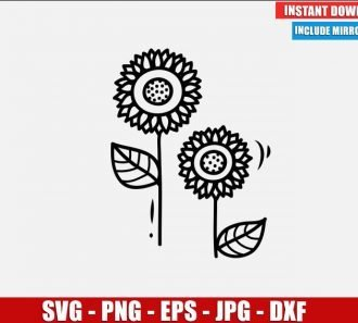 Sunflowers SVG Free Cut File for Cricut Silhouette Freebie Flower Plant Clipart Vector PNG Image Download Free