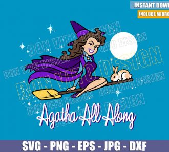 Agatha Harkness Bewitched (SVG dxf png) Marvel Witch Flying Broom Rabbit Cut File Cricut Silhouette Vector Clipart - Don Vito Design Store