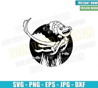 Alberto Sea Monster Outline (SVG dxf png) Disney Movie Luca Fish Cut File Cricut Silhouette Vector Clipart - Don Vito Design Store