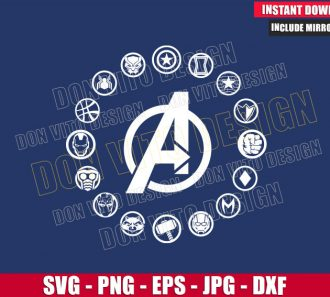 Avengers Symbols A Marvel Logo (SVG dxf png) Black Panther Hulk Thor Cut File Cricut Silhouette Vector Clipart - Don Vito Design Store