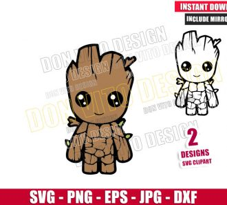 Baby Groot Happy Outline (SVG dxf png) Guardians of the Galaxy Movie Cut File Cricut Silhouette Vector - Don Vito Design Store