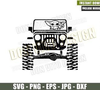 Baby Yoda Jeep Peace (SVG dxf png) Star Wars Movie 4×4 Vehicle Offroad Cut File Cricut Silhouette Vector Clipart - Don Vito Design Store