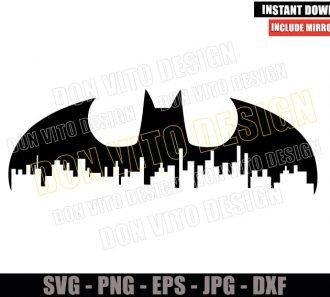 Batman Logo Gotham Cityscape (SVG dxf png) DC Comics City Cut File Cricut Silhouette Vector Clipart - Don Vito Design Store