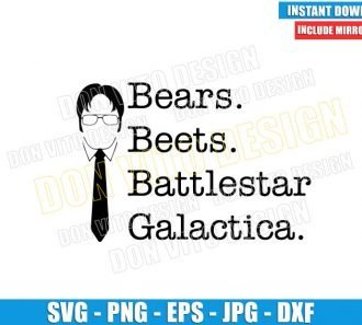 Bears Beets Battlestar Galactica (SVG dxf png) Dwight Schrute Hair Tie Cut File Cricut Silhouette Vector Clipart - Don Vito Design Store