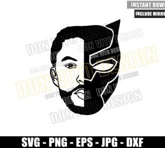 Black Panther T'Challa Face (SVG dxf png) Chadwick Boseman Head Wakanda Cut File Cricut Silhouette Vector Clipart - Don Vito Design Store