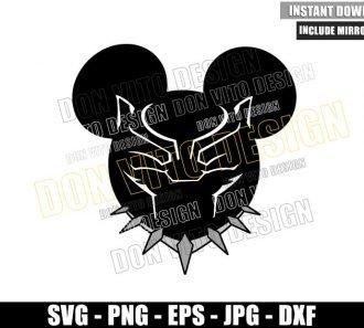 Black Phanter Mickey Head (SVG dxf png) Disney Mouse Ears Marvel Super Hero Cut File Cricut Silhouette Vector Clipart - Don Vito Design Store