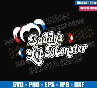 Daddy's Lil Monster Harley Hair (SVG dxf png) Suicide Squad Movie Cut File Cricut Silhouette Vector Clipart - Don Vito Design Store