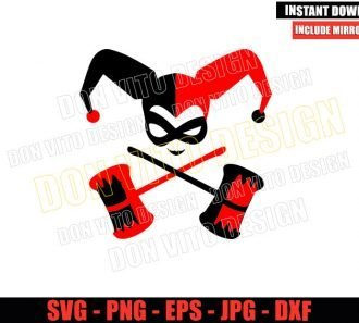 Harley Quinn Harlequin Mallet (SVG dxf png) Suicide Squad Cut File Cricut Silhouette Vector Clipart - Don Vito Design Store