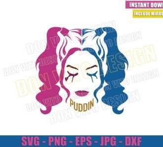 Harley Quinn Head (SVG dxf png) The Suicide Squad Movie Cut File Cricut Silhouette Vector Clipart - Don Vito Design Store