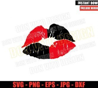 Harley Quinn Lips (SVG dxf png) Harley Suicide Squad Kiss Cut File Cricut Silhouette Vector Clipart - Don Vito Design Store