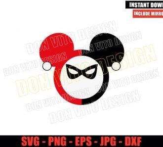 Harley Quinn Mickey Head (SVG dxf png) Disney Suicide Squad Cut File Cricut Silhouette Vector Clipart - Don Vito Design Store
