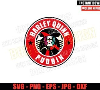 Harley Quinn Starbucks Logo (SVG dxf png) Suicide Squad Coffee Cup Label Cut File Cricut Silhouette Vector Clipart - Don Vito Design Store