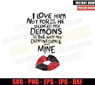The Way He Silenced My Demons (SVG dxf png) Harley Quinn Suicide Squad Cut File Cricut Silhouette Vector Clipart - Don Vito Design Store