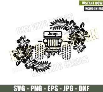 Hibiscus Jeep Girl Car (SVG dxf png) Vehicle Off Road Outdoor Flowers Cut File Cricut Silhouette Vector Clipart - Don Vito Design Store