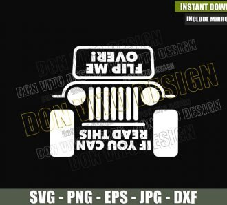 If You Can Read This Flip Me Over (SVG dxf png) 4x4 Vehicle Offroad Outdoor Life Cut File Cricut Silhouette Vector Clipart - Don Vito Design Store