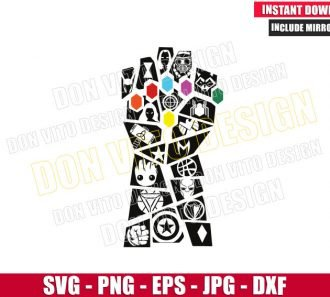 Infinity Gauntlet Avengers Logos (SVG dxf png) Thanos Groot Loki Thor Cut File Cricut Silhouette Vector Clipart - Don Vito Design Store