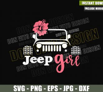 Jeep Girl Flower (SVG dxf png) Vehicle Off Road Driver Outdoor Life Cut File Cricut Silhouette Vector Clipart - Don Vito Design Store