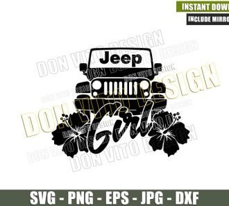Jeep Girl Hibiscus Flowers (SVG dxf png) Vehicle Off Road Outdoor Car Cut File Cricut Silhouette Vector Clipart - Don Vito Design Store