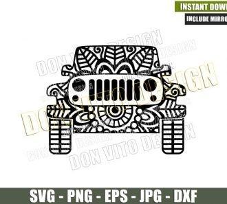 Jeep Mandala (SVG dxf png) Zentangle 4x4 Vehicle Off Road Car Cut File Cricut Silhouette Vector Clipart - Don Vito Design Store
