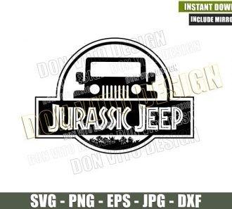 Jurassic Park Jeep Logo (SVG dxf png) Dinosaur Movie 4x4 Vehicle Off Road Cut File Cricut Silhouette Vector Clipart - Don Vito Design Store