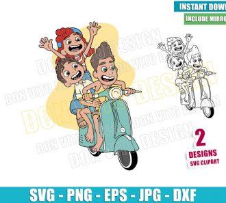 Luca Giulia Alberto Vespa (SVG dxf png) Disney Movie Friends Outline Cut File Cricut Silhouette Vector Clipart - Don Vito Design Store